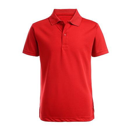 IZOD Little & Big Boys Short Sleeve Wrinkle Resistant Moisture Wicking Polo Shirt, Medium , Red