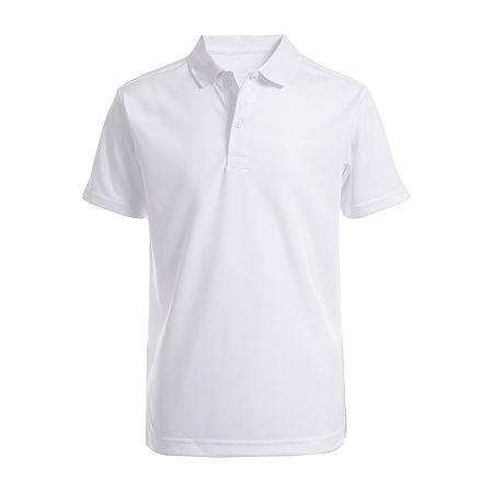 IZOD Little & Big Boys Short Sleeve Wrinkle Resistant Moisture Wicking Polo Shirt, Small , White