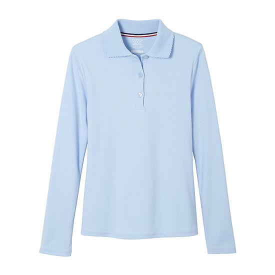 French Toast Little & Big Girls Long Sleeve Polo Shirt