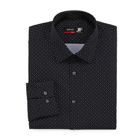 JF J.Ferrar - Slim Mens Spread Collar Long Sleeve Stretch Dress Shirt