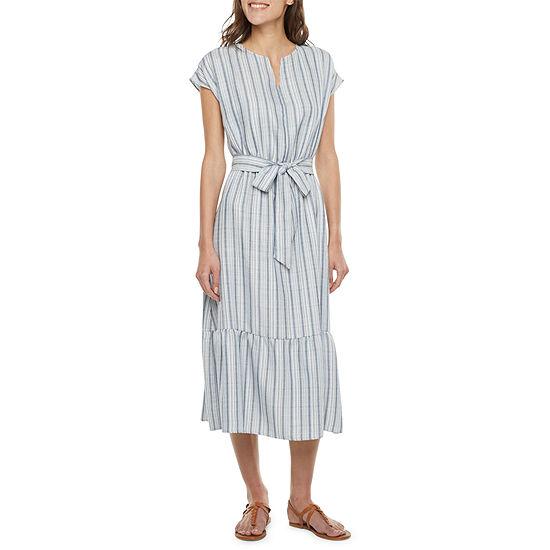 Studio 1 Short Sleeve Striped Midi Fit & Flare Dress