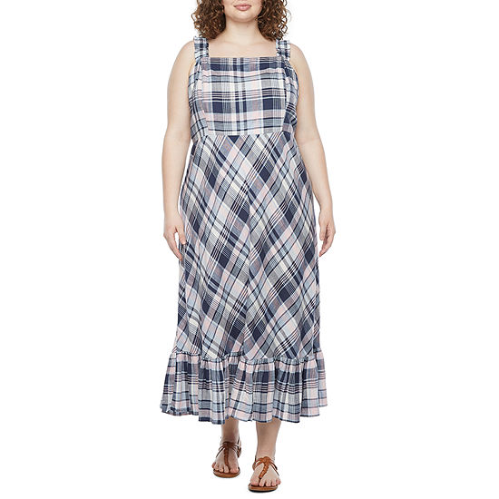 52seven-Plus Sleeveless Plaid Maxi Dress