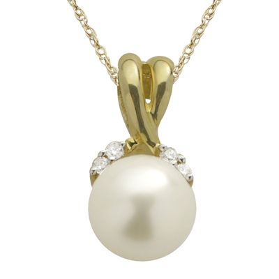 10K Gold Cultured Freshwater Pearl & Diamond-Accent Pendant Necklace