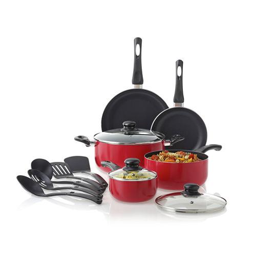 Cooks 13-pc. Essential Aluminum Nonstick Cookware Set (Red OR Black)