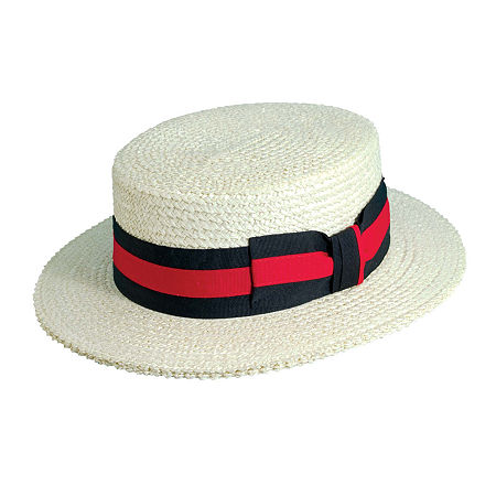 New Edwardian Style Men's Hats 1900-1920 Scala Two Tone Band Straw Boater Hat Large  White $48.00 AT vintagedancer.com