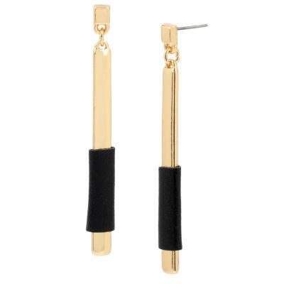 Bleu™ Black Wrapped Gold-Tone Stick Linear Earrings