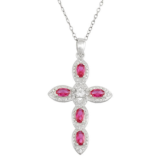 Lab Created Ruby & White Sapphire Sterling Silver Cross Pendant Necklace