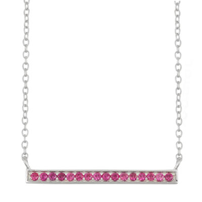 Simulated Ruby Bar Sterling Silver Necklace