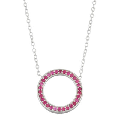 Simulated Ruby Circle Sterling Silver Necklace