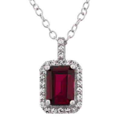 Lab-Created Ruby & Cubic Zirconia Sterling Silver Pendant Necklace