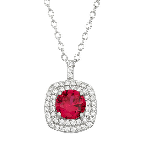 Simulated Round Ruby & Cubic Zirconia Sterling Silver Pendant