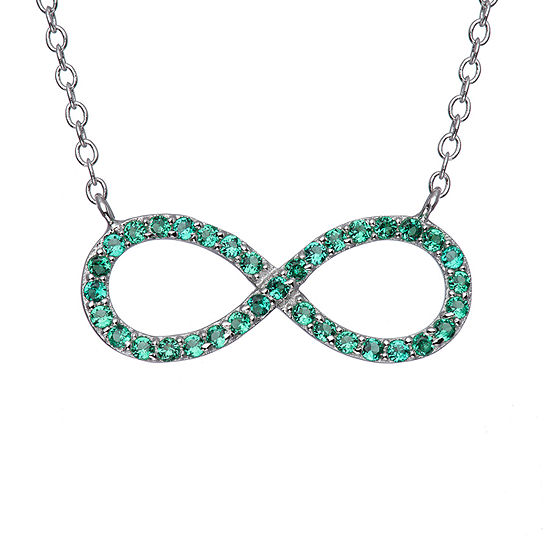 Simulated Emerald Sterling Silver  Infinity Necklace