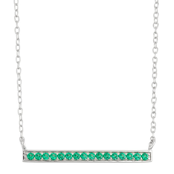 Simulated Emerald Bar Sterling Silver Necklace