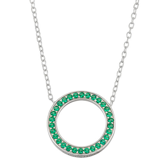 Simulated Emerald Sterling Silver Circle Necklace