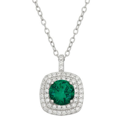 Simulated Emerald & Cubic Zirconia Sterling Silver Pendant