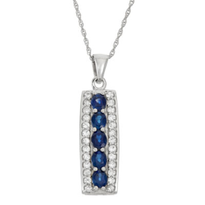 Lab-Created Blue Sapphire And Genuine White Topaz Sterling Silver Pendant Necklace