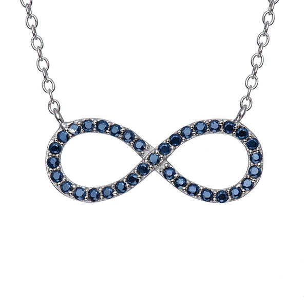 Simullated Blue Sapphire Sterling Silver Infinity Necklace