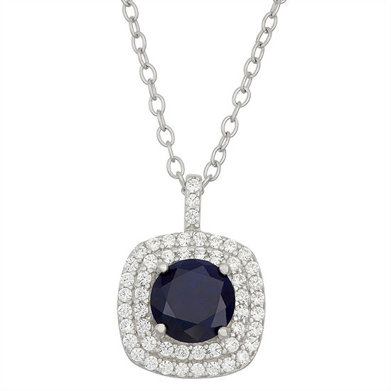Simulated Blue Sapphire & Cubic Zirconia Sterling Silver Pendant