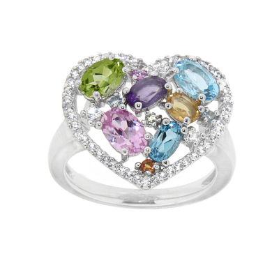 Multi-Gemstone Sterling Silver Heart Ring
