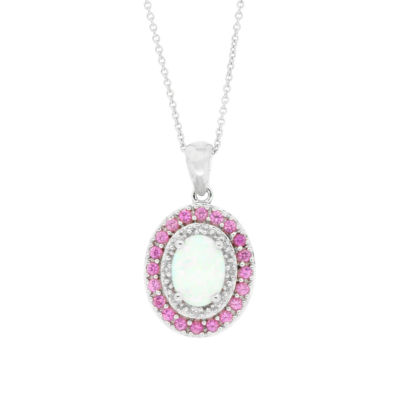 Lab Created Opal, Pink Sapphire & Diamond Accent Sterling Silver Pendant Necklace