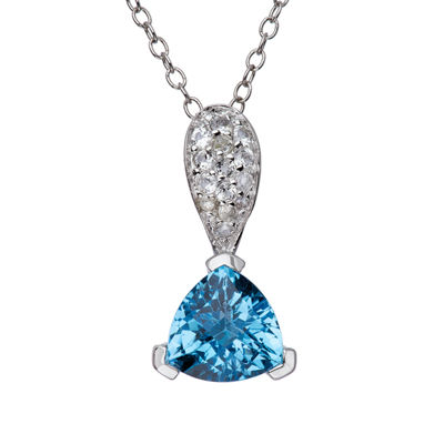 Sterling Silver Genuine Swiss Blue Topaz And White Topaz Pendant Necklace