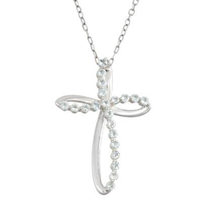 Genuine Blue Topaz  Sterling Silver Swirl Cross Pendant Necklace