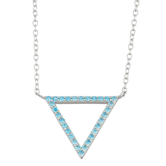 Simulated Blue Topaz Sterling Silver Open Triangle Necklace
