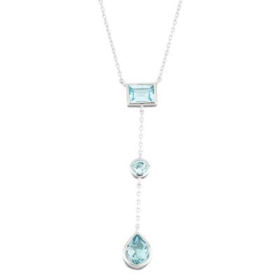 Genuine Blue Topaz Sterling Silver Triple Drop Y Necklace