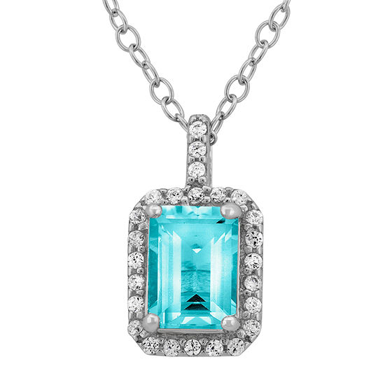 Genuine Blue Topaz & Cubic Zirconia Sterling Silver Pendant Necklace