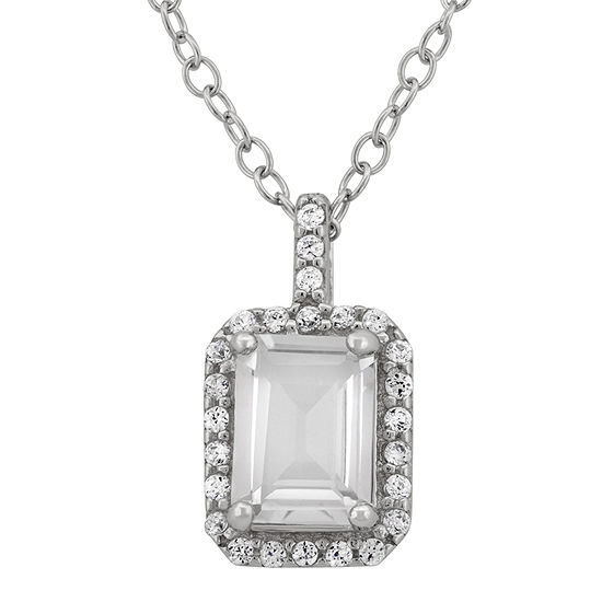 Genuine White Topaz & Cubic Zirconia Sterling Silver Pendant Necklace