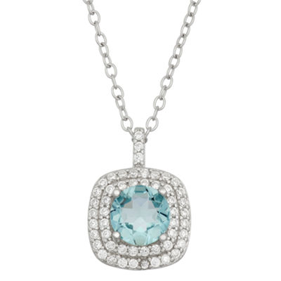 Simulated Blue Topaz & Cubic Zirconia Sterling Silver Pendant Necklace