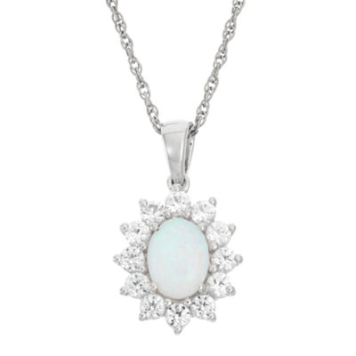 Lab-Created Opal & White Sapphire Flower Sterling Silver Pendant