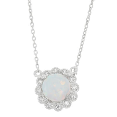 Lab Created Opal & White Sapphire Sterling Silver Halo Necklace