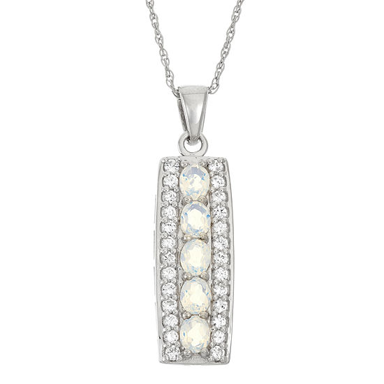 Lab-Created Opal & Genuine White Topaz Sterling Silver Pendant