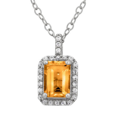 Genuine Emerald-Cut Citrine & Cubic Zirconia Sterling Silver Pendant