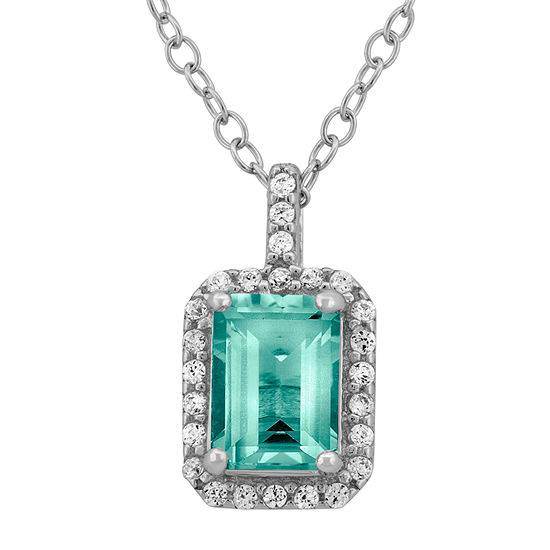 Simulated Aquamarine & Cubic Zirconia Sterling Silver Pendant Necklace