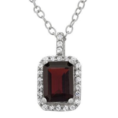 Genuine Garnet & Cubic Zirconia Sterling Silver Pendant Necklace