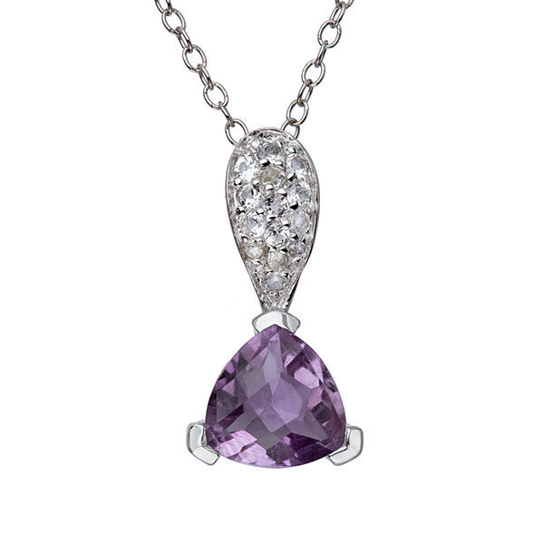 Genuine Amethyst and White Topaz Sterling Silver Pendant