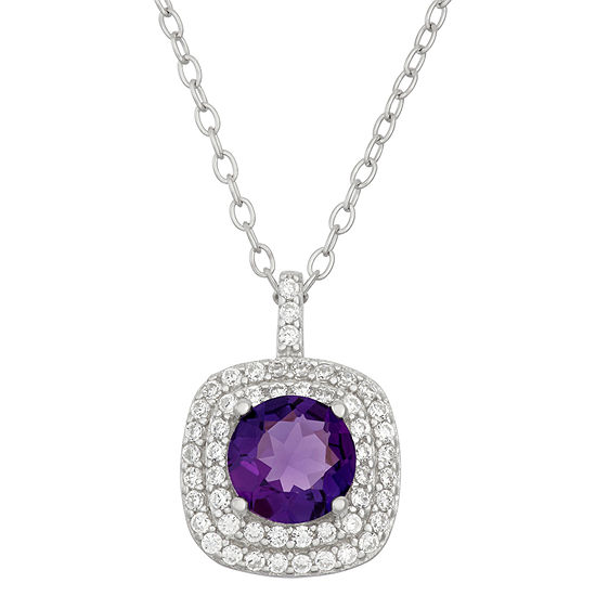 Simulated Amethyst & Cubic Zirconia Sterling Silver Pendant Necklace