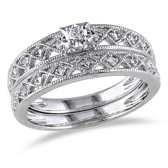 1/10 CT. T.W. Diamond Sterling Silver Vintage Style Bridal Set