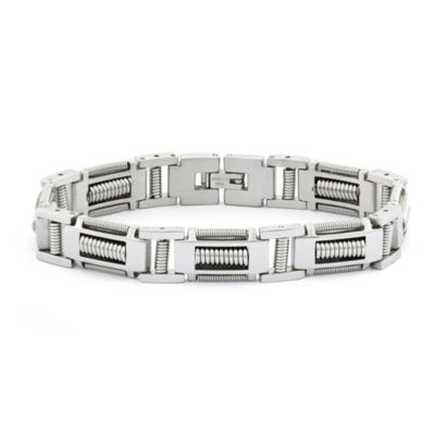 "Mens Stainless Steel  8.25"", 12mm Link Bracelet"