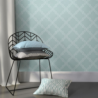 NuWallpaper Slate Blue Quatrefoil Peel and Stick Wallpaper