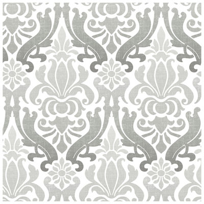 NuWallpaper Grey Nouveau Damask Peel and Stick Wallpaper