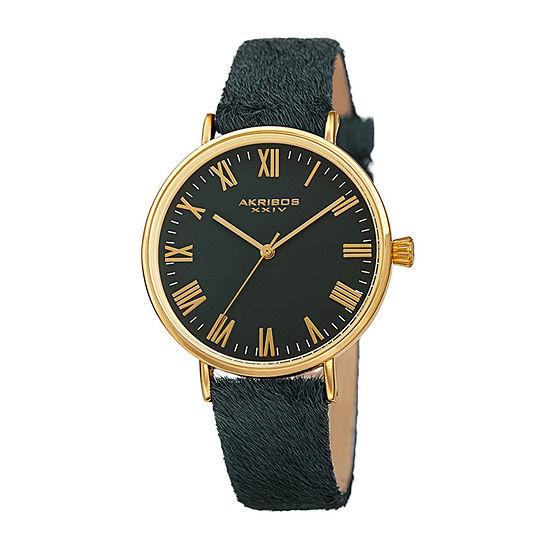 Akribos XXIV Womens Green Leather Strap Watch-A-1081gn