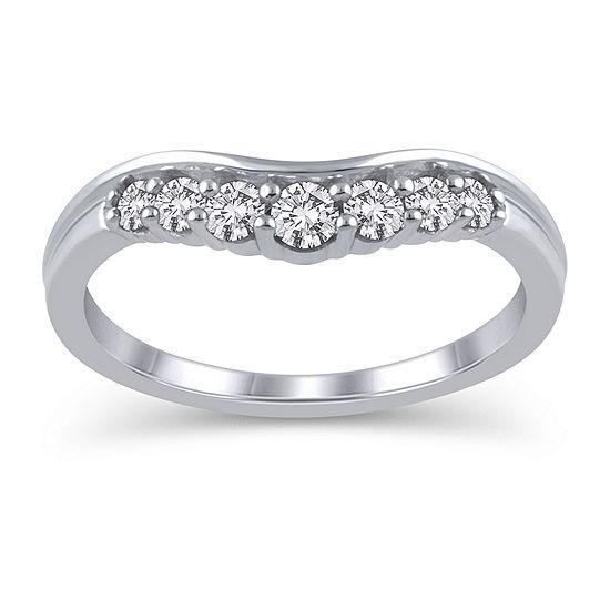 Womens 1/3 CT. T.W. Genuine White Diamond 10K White Gold Ring Enhancer