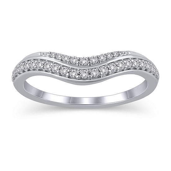 Womens 1/5 CT. T.W. Genuine White Diamond 10K White Gold Ring Enhancer