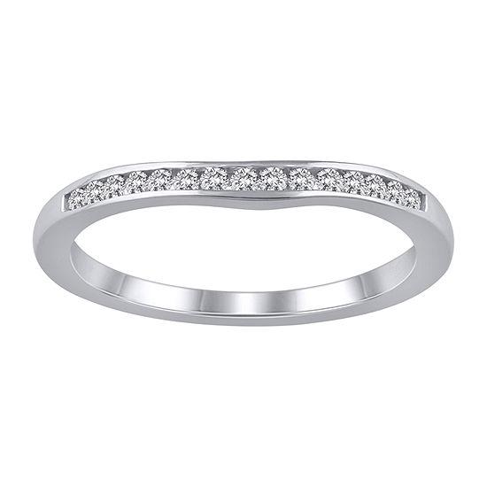 Womens 1/6 CT. T.W. Genuine White Diamond 10K White Gold Ring Enhancer
