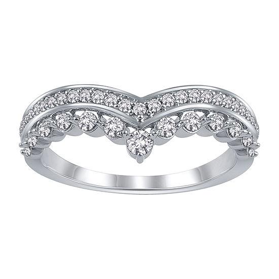 Womens 1/5 CT. T.W. Genuine White Diamond 10K White Gold Ring Enhancer
