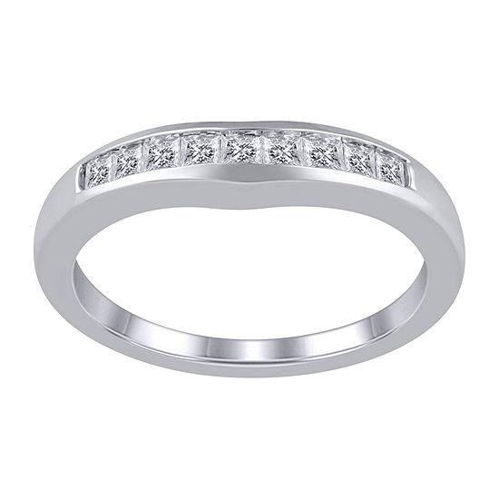 Womens 3/8 CT. T.W. Genuine White Diamond 14K White Gold Ring Enhancer