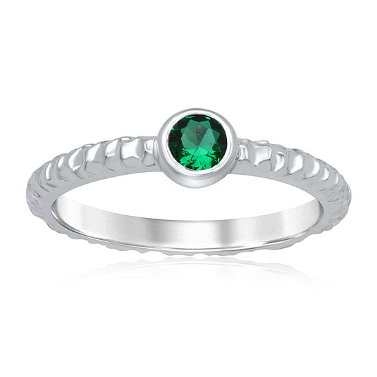 Universe Fine Jewelry By Marvel Womens Genuine Green Topaz Sterling Silver Round Cocktail Ring
